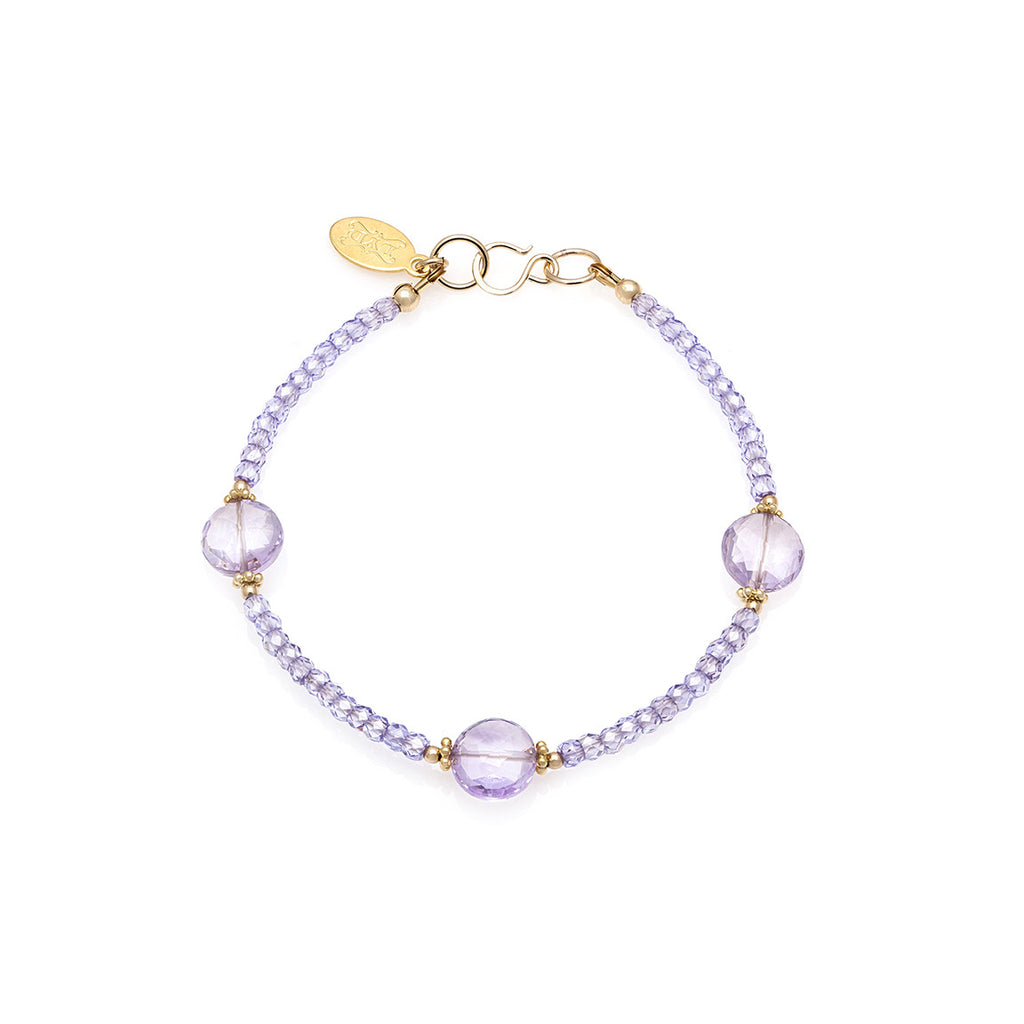 Jewel Bracelet - Gold with Pink Amethyst