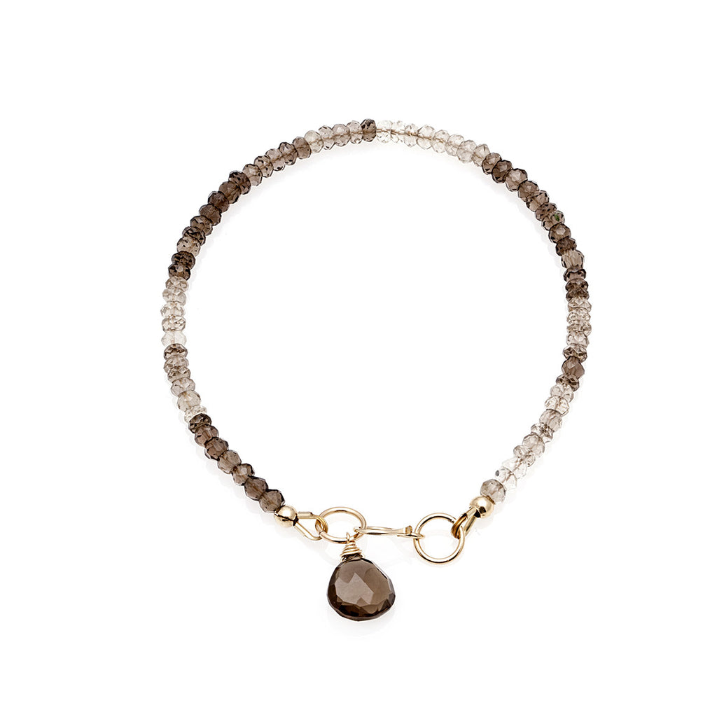 Jewel Drop Bracelet - Gold with Smokey Quartz