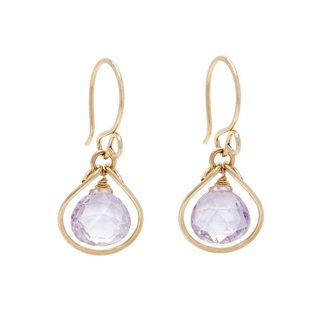 Jewel Drop Earrings - Gold with Pink Amethyst