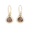 Jewel Drop Earrings - Gold with Smokey Quartz
