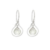 Jewel Drop Earrings - Silver with Green Amethyst