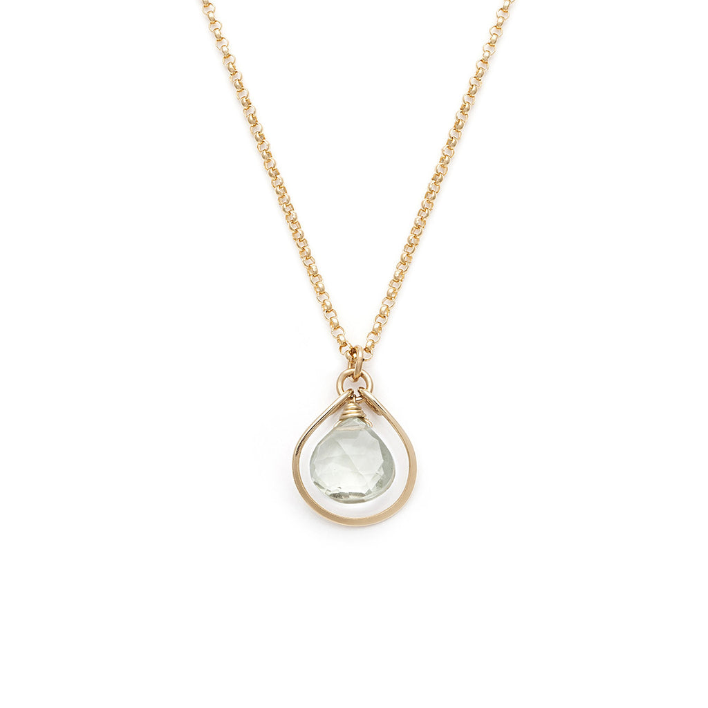 Jewel Drop Necklace - Gold with Green Amethyst