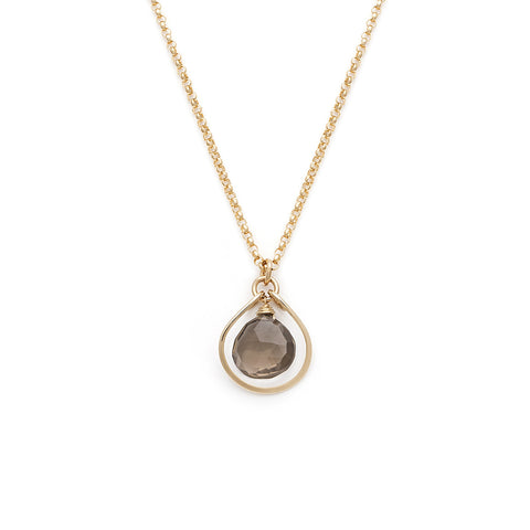 Jewel Drop Necklace - Gold with Smokey Quartz