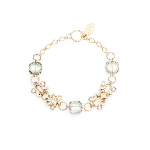 Lattice Bracelet - Gold with Green Amethyst