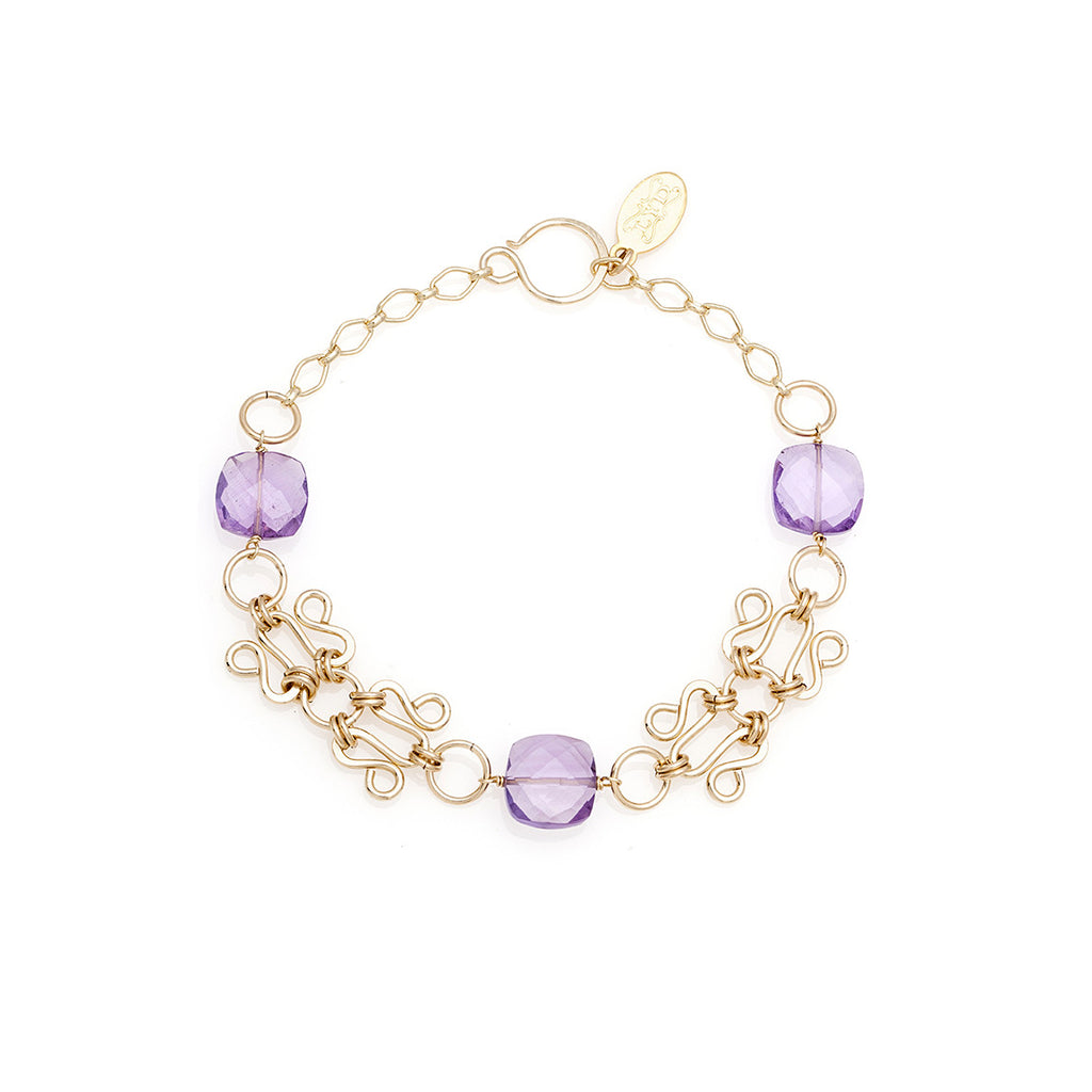 Lattice Bracelet - Gold with Pink Amethyst