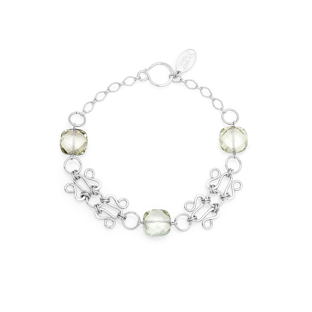 Lattice Bracelet - Silver with Green Amethyst