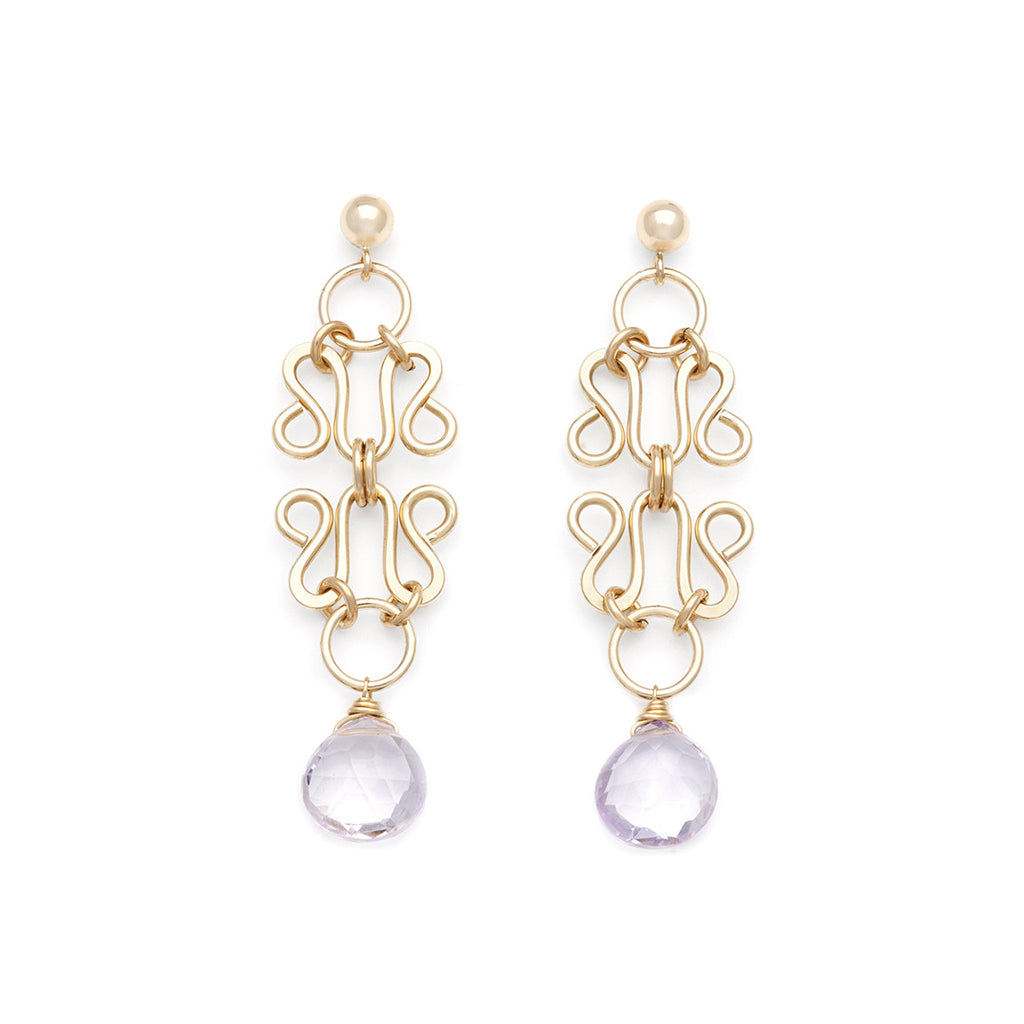 Lattice Earrings - Gold with Pink Amethyst