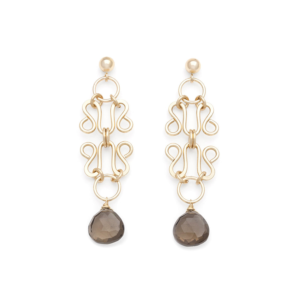 Lattice Earrings - Gold with Smokey Quartz