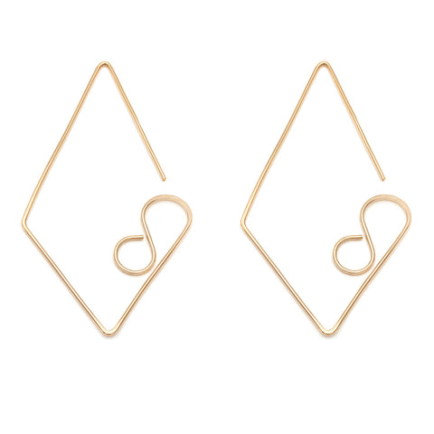 Large Diamond Earrings - Gold Fill