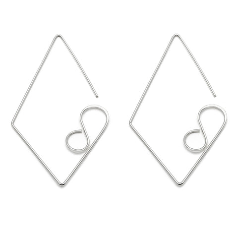 Large Diamond Earrings - Silver
