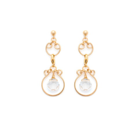 Filigree Charm Earrings - Gold with Clear Quartz