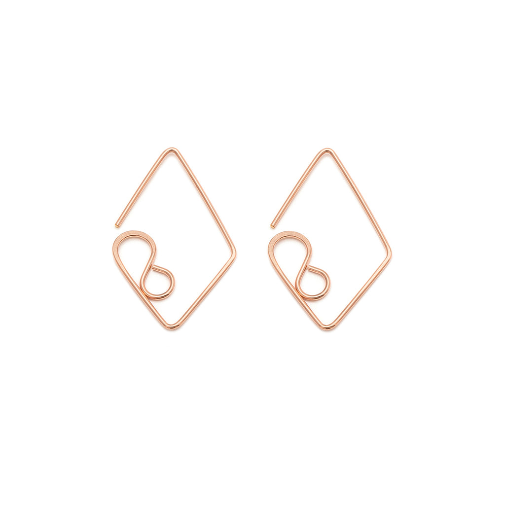 Medium Diamond Earrings - Rose Gold