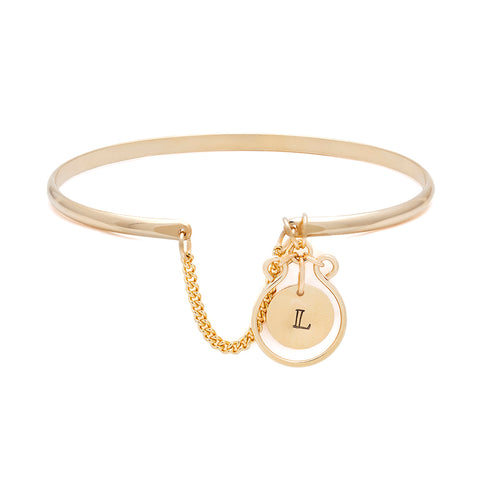 Filigree Monogram Bangle - Gold