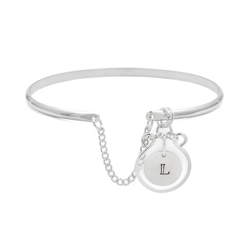 Filigree Monogram Bangle - Silver