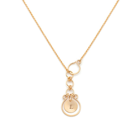 Filigree Monogram Lariat - Gold