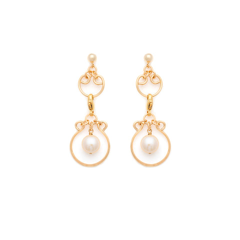 Filigree Charm Earrings - Gold with White Pearl
