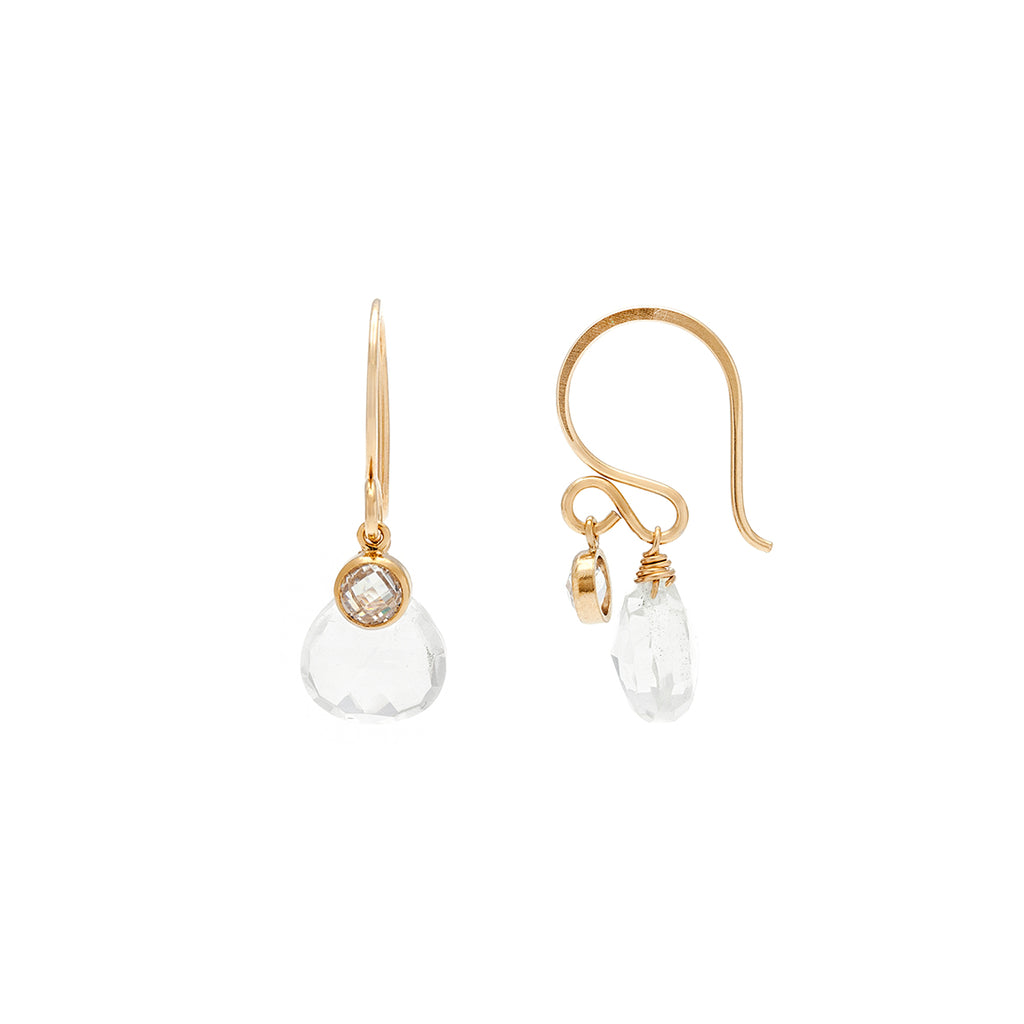 Loft Earrings - Gold with Clear Quartz