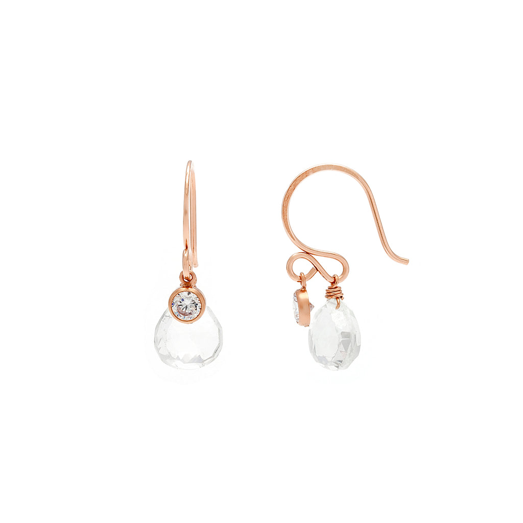 Loft Earrings - Rose Gold with Clear Quartz