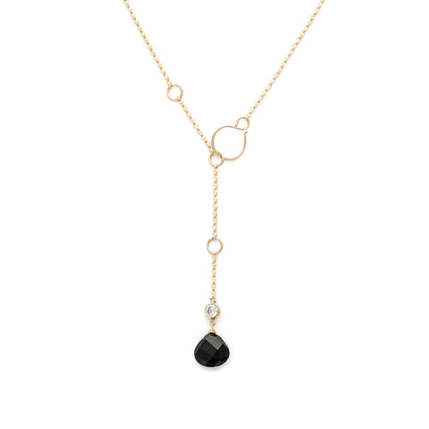 Loft Lariat - Gold with Black Onyx