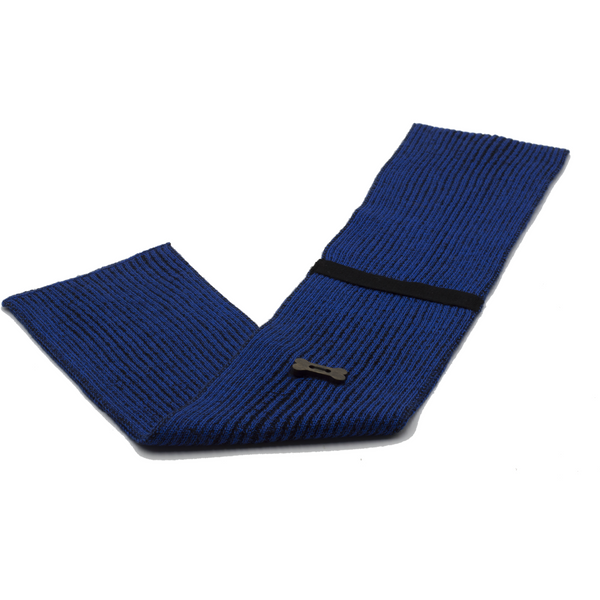 Ribbed Style Scarf - Royal Blue/Black
