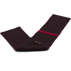 Ribbed Style Scarf - Charcoal Grey/Red