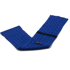 Cable Knit Style Scarf - Royal Blue/Black
