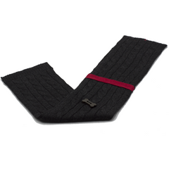 Cable Knit Style Scarf - Charcoal/Red