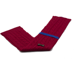 Cable Knit Style Scarf - Red/Royal Blue