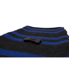 Striped Knit Style Scarf - Charcoal Grey/Royal Blue
