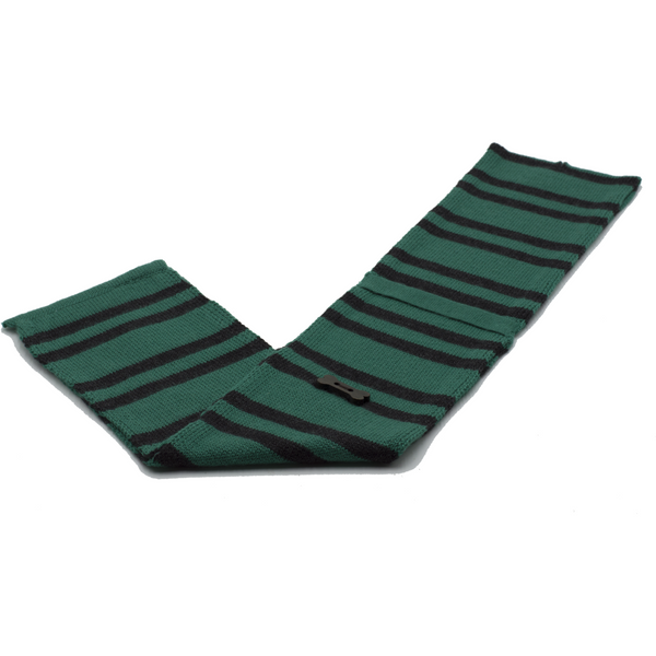 Striped Knit Style Scarf - Green/Charcoal