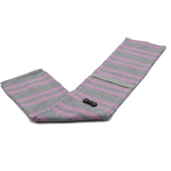 Striped Knit Style Scarf - Heather Grey/Light Pink