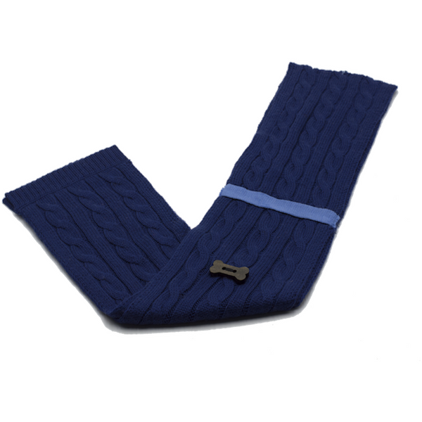 Cable Knit Style Scarf - Navy/Light Blue