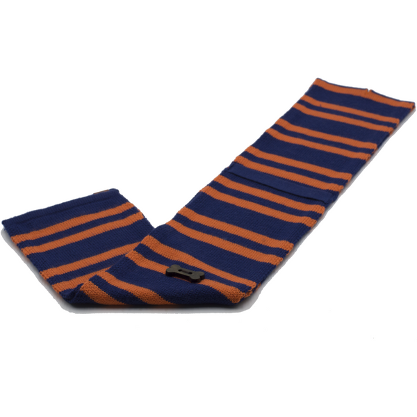 Striped Knit Style Scarf - Navy/Orange