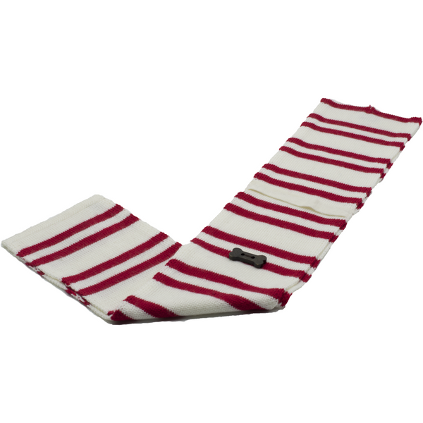 Striped Knit Style Scarf - Red/White