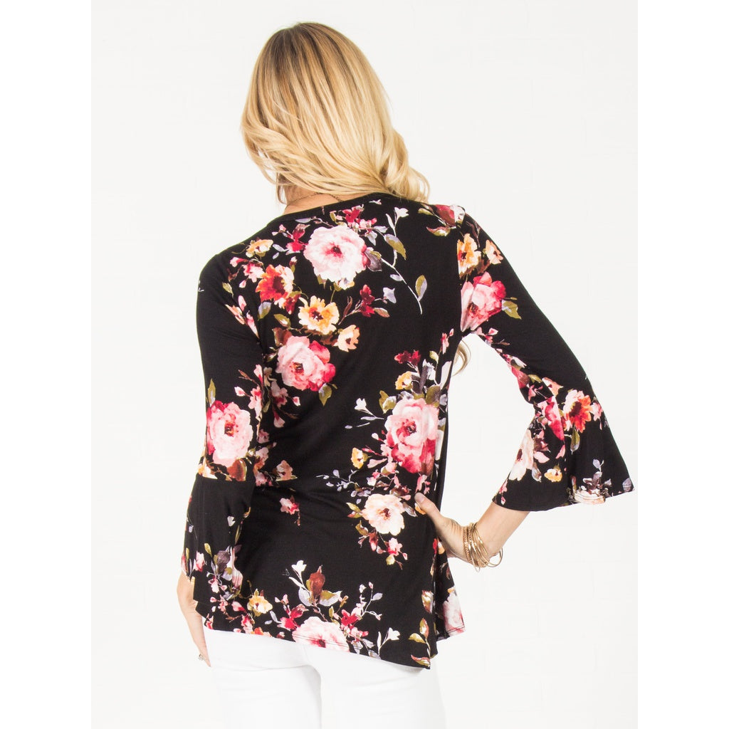 Flowy Floral V Neck Top