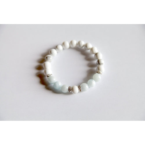 Peace & Tranquility Bracelet ~ Aquamarine & White Howlite Bracelet w/ Sterling Silver Accents