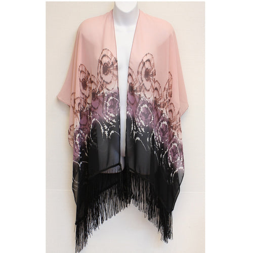 Pink and Black Ruana Kimono Scarf - TraceysTreasurez
