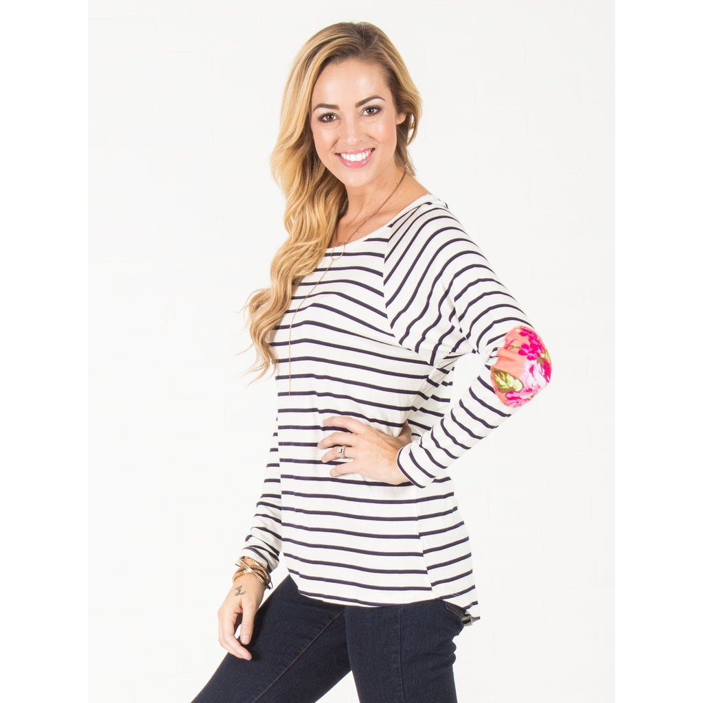 Floral Elbow Patch Top