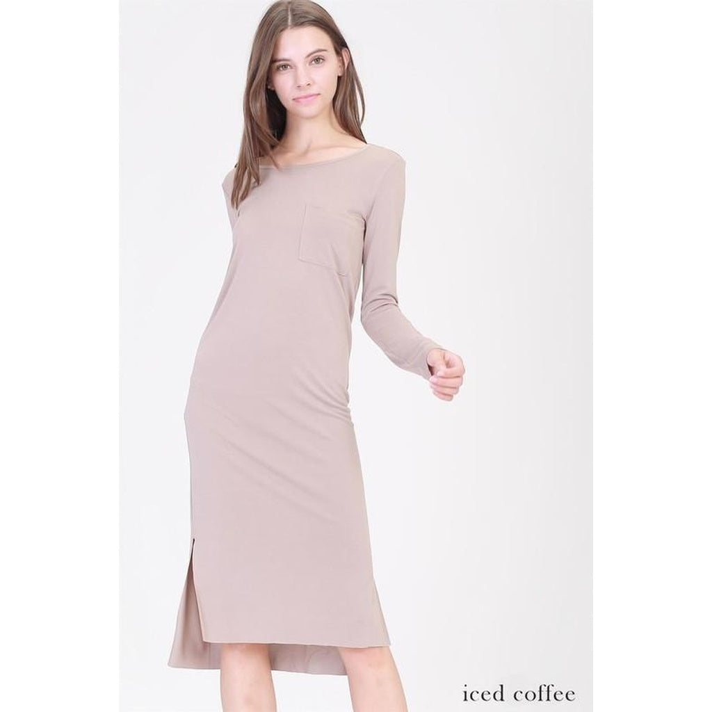 Pocket Slit Midi Dress