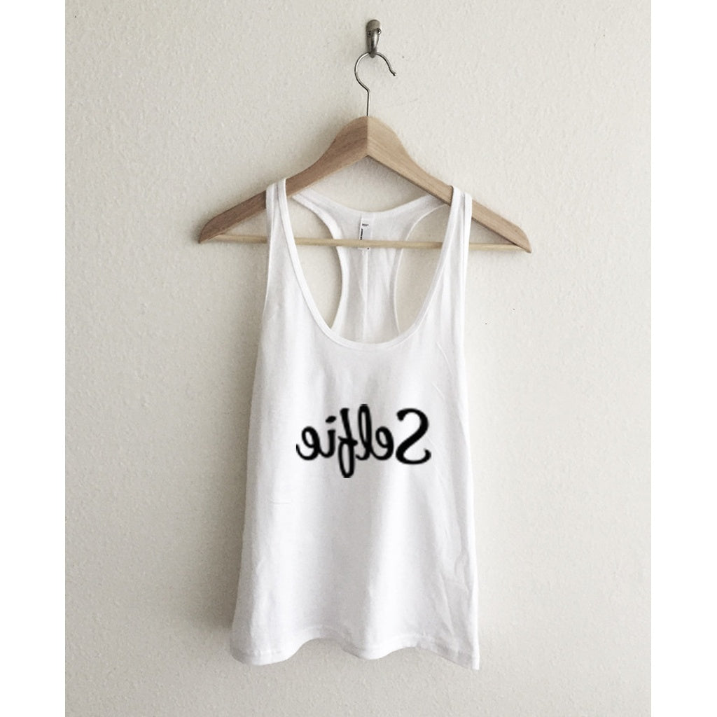 Selfie Instagram Typography Athletic Racerback Tank Top