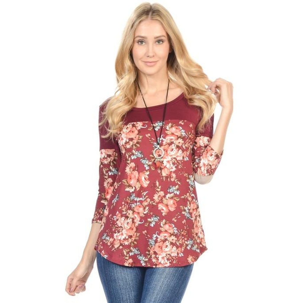 Rosa - 3/4 Sleeve Floral Panel Top