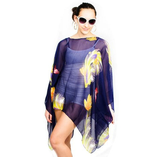 Womens Flower Summer Poncho Tunic - TraceysTreasurez