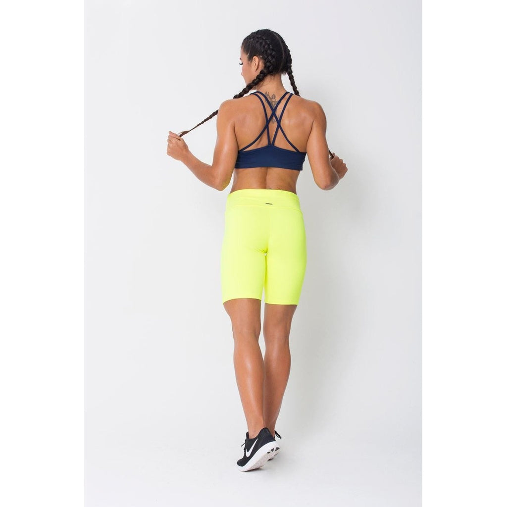 Neon Yellow Fitness Capri Long Shorts