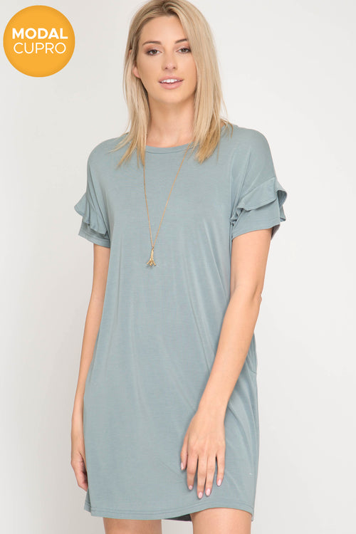 Ruffled Short Sleeve Modal Cupro Dress Pockets