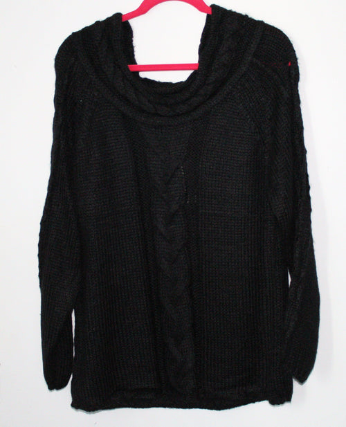 Thick Knit Black Sweater Large