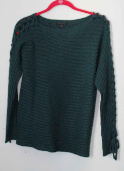 Forest Green Lace Up Knit Sweater Small