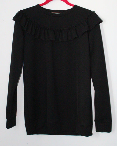 Black Solid Ruffled Blouse Large