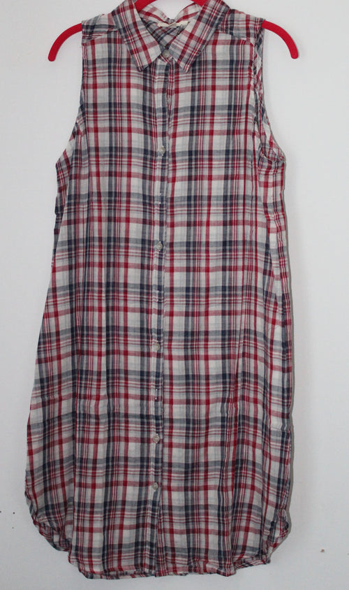Plaid Red Blue White Sleeveless Collared TShirt Dress Large