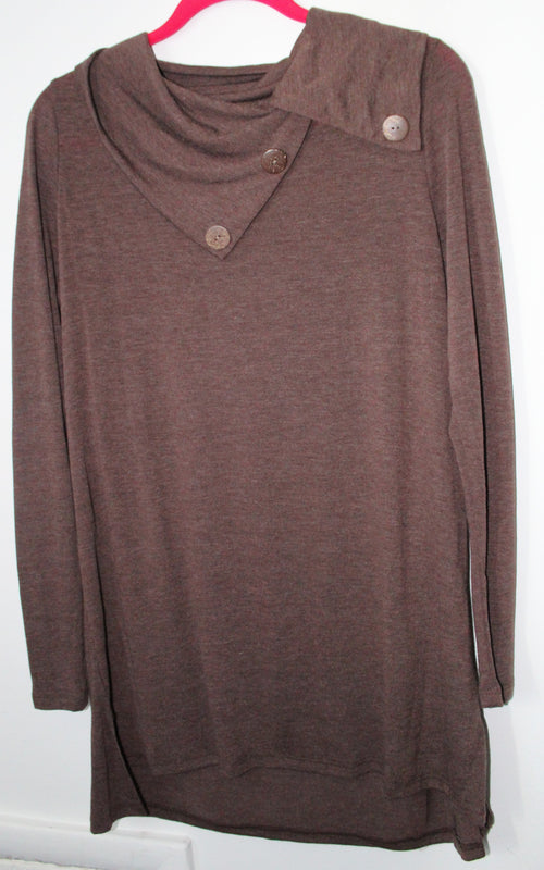 Solid Brown Button Cowl Neck Tunic Medium