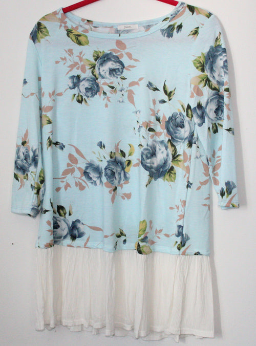 Two Toned Floral Blue White Tunic Small
